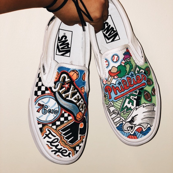 Decorated White Vans Clearance Sale, UP TO 55% OFF